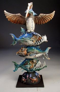 Grafton Pottery Monster Fish Totem Pole - A Metal Rod Welded To The Metal Base Holds Everything Together. Depiction From I Searched For This On Art Dolls, Ceramic Sculpture, Sculpture Art, Clay Art, Ceramics, Totem, Art, Pottery Art, Ceramic Fish