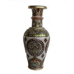 Marble Vase Gold Painted 4, 14 inches - Online shopping INDIA - Buy Handicrafts,Gifts, Crafts,handmade, handcrafted, home decor, Gift items, Home Furnishing Items, Statues, Decorative, Indian Handicrafts, Paintings, Wall decor Items