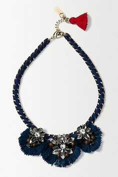 Gorgeous fashionable statement blue necklace!!! I love the red detail on the back!!! #anthrofave #anthropologie #statement #necklace