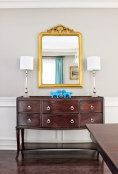 Dining Room Sideboard, Louis Philippe Gilt Mirror, French Gold Leaf Mirror,  Polished