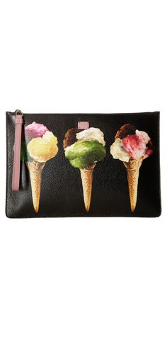 Get the scoop on a deliciosly divine look.  Treat yourself to the sweet life carrying the loved luxury of the #DolceandGabbana #Leather #Gelato #Pouch. #bag #clutch #handbag