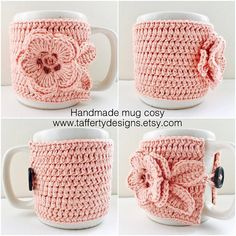 Updates from taffertydesigns on Etsy Crochet Mug Cozy, Cute Crochet, Crochet Baby, Beading Patterns Free, Crochet Stitches Patterns, Mug Cozy Pattern, Crochet Organizer, Crochet Squares, Handarbeit
