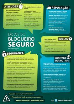 Infográfico sobre boas práticas e dicas de segurança para blogueiros, criado pela Dr. Patricia Peck!
