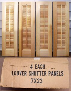 Shutters 66799: 4 @ 7 W X 23 H Unfinished Wood Interior Louver Shutter  Panels