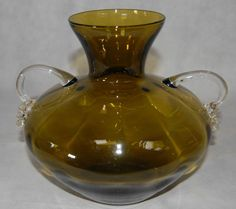 1960s Retro Mid Century Modern Olive Green Brown Handled Amphora Urn Glass Vase