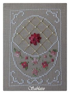 on canvas nougat, small flowers cross stitch and large flower Ribbon, gold wire and white pearls