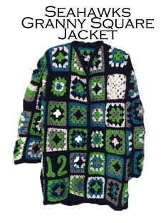 Pattern for Crocheted Granny Square Jacket by jmariebeads on Etsy