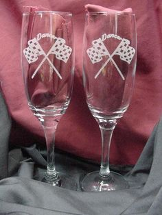 Custom Engraved Racing Theme Wine Flutes, Checkered Flag