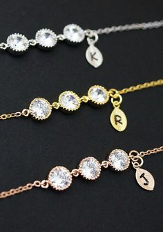 Personalized cubic zirconia Bracelets from EarringsNation Gold Rose Gold Silver tone