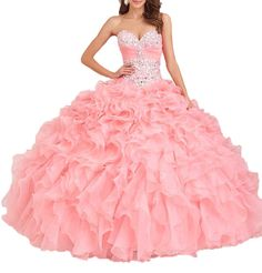 FairyBridal Womens Organza Crystals Quinceanera Dresses Ball Gown Prom Dress. Fabric: Organza Tulle with Beads,Crystals Sweeteart Built in bra Lace-up. Occasions: For girl Birthdays Quinceanera Pageant Sweet 16 Formal party, Celebrity party, Bridesmaid, Homecoming, Banquet, Evening, wedding and other special occasion. Can Custom-made Any Size and Color built in bra lace up back. If you need a custom made size,you can send us your detail size: Bust, Waist, Hips and Hollow to Floor.(See...