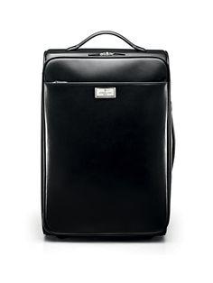 Calfskin nappa leather #trolley case, black. 42x30x6 cm. #Corneliani #SS17 #accessories