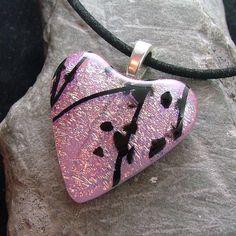 Pk. Sparkle Dichroic Fused Glass Pendant. By Marsha Treacey. Delphi Artist Gallery.