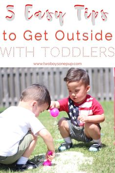 Tips to get outside with toddlers! From picnics to playgrounds, to water play! #parenting can be tough with #toddlers, so I thought I'd share some easy ways be enjoy the nice weather! #motherhood #momhacks #outdoors #twins #identicaltwins