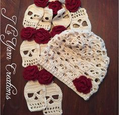 Isn't this sugar skull crocheted hat and scarf set gorgeous! Get them ready made to avoid any work on your part, or if you're feeling crafty have a go at making Mütze Sugar Skull Crocheted Hat & Scarf Set Diy Tricot Crochet, Crochet Beanie, Crochet Gifts, Crochet Scarves, Crochet Stitches, Free Crochet, Crocheted Hats, Crochet Baby, Doilies Crochet
