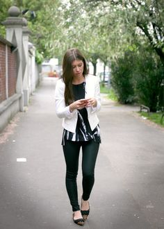 Black pant, Flat, White Blazer and Print Top