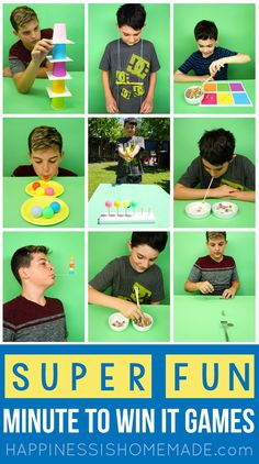 Fun All-Occasion Minute to Win It Games for Kids, Adults, Groups, Birthday Parti… - Kinderspiele Gym Games For Kids, Adult Games, Minute To Win It Games For Teens, Teen Minute To Win It Games, Games For Children, Games For Groups, Kids Church Games, Indoor Games For Kids, Youth Groups