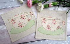 SALE Shabby Chic Fabric Coasters Beverage by TheCornishCoasterCo