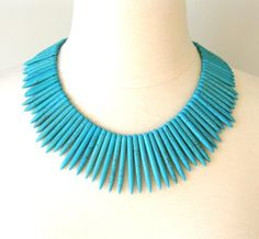 Tribal Statement Necklace Blue Turquoise Spring by FDLM on Etsy, $48.00