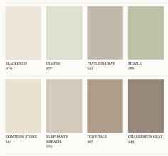 Farrow and Ball paint colour ideas. Skimming stone for living room. Charleston grey for hall. Elephant's breath for kitchen/dining room.