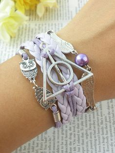 Harry Potter Bracelet Handmade Leather Braclet Deathly Hallows Golden Snitch 369 #Handmade #HarryPotter