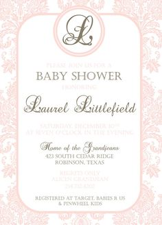 Custom Listing for Nichole  Pink  Damask Baby by HelloLoveBoutique, $35.00