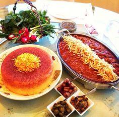 Iranian stew called, khoreshte Gheymeh with rice