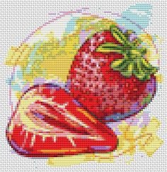 Fresh Strawberries - Mini Cross Stitch KIT