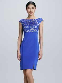 Blue Backless Lace Bodice Cocktail Dress