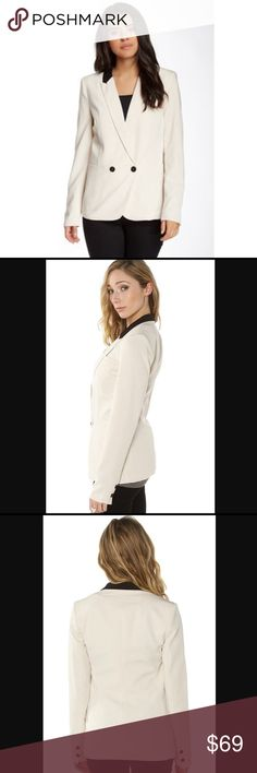 • Bardot • cream colored Daria contrast blazer Gorgeous cream colored blazer with black accents. Double barrel cuffs on this lovely professional blazer. Dress jacket has a double breasted front button closure with patch pockets on the front. Brand new with tags! Sold by Kyle by Alene Too, a boutique featured on the Real Housewives of Beverly Hills. Great blazer for work! Bardot Jackets & Coats Blazers