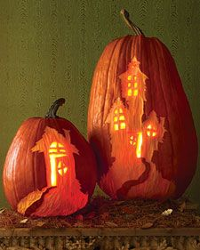 Martha Stewart haunted house pumpkin template. I LOVE this. Great instructions to boot.