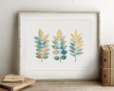 Simple Colorful Printable Art 30% off when you buy by EphericaArt Dining Room Wall Decor, Home Decor Wall Art, Leaf Design, Wall Design, Nature Prints, Art Nature, Hand Drawn Flowers, Colorful Wall Art, Artwork Display