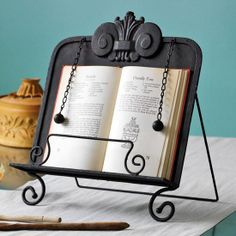 Recipe book holder- would need to sand it to make it look more rustic, but very nice style. Recipe Book Holders, Cookbook Holder, Cook Book Stand, Book Stands, Homemade Recipe Books, Buy Pictures, Picture Stand, Dining Ware, Cast Iron Recipes