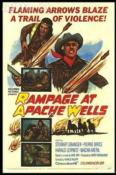 """Rampage at Apache Wells"" (1965)""Der Ölprinz"" (original title) ~  Director: Harald Philipp; Stars: Stewart Granger, Pierre Brice, Harald Leipnitz, Macha Méril, Terence Hill, Walter Barnes. Won the Golden Screen Award  in Germany (1966)"