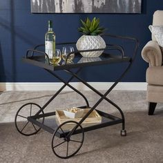 Presley Indoor Traditional Black Iron Bar Cart with Tempered Glass Shelves #homedecor #interiordesign #modern #farmhouse #design #furniture #highquality #diningchairs #counterheight #barcart #GDF #ad