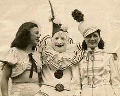 1940's circus clown with 2 women