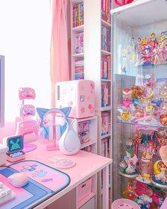 Cute Room Ideas, Cute Room Decor, Girl Bedroom Designs, Room Ideas Bedroom, Kawaii Bedroom, Otaku Room, Gaming Room Setup, Game Room Design, Gamer Room