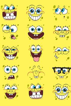 SpongeBob, yellow, pattern, character, face,