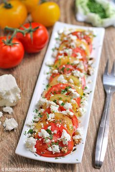 yellow tomatoes, summer tomato feta salad, salad recipes, food, eat, tomatoes feta, yummi, basil, heirloom tomatoes