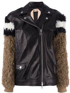 Shop fur sleeves leather jacket in MILANO from the world's best… N21, Color Negra, Wearing Black, Outerwear Jackets, Adidas Jacket, Rain Jacket, Windbreaker, Leather Jacket, Sleeves
