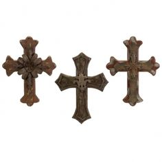 Melane Wood And Metal Wall Cross - Set of 3