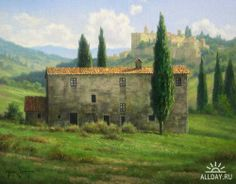 Tuscany Landscape, Landscape Art, Landscape Paintings, Watercolor Paintings, Provence, Fairy Wallpaper, Italian Villa, French Countryside, Modern Landscaping