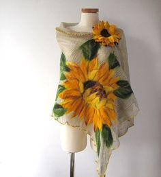 Linen shawl knit jersey felted aplication Sunflower flower natural flax