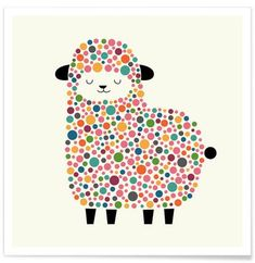 Bubble Sheep Art Print by Andy Westface - Fy Sheep Art, Dot Painting, Cute Illustration, Nursery Art, Rock Art, Painted Rocks, Art For Kids, Fine Art Prints, Bubbles