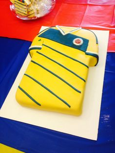 Caramel and cream white cake, dressed up as the Colombian FIFA 2014 soccer team