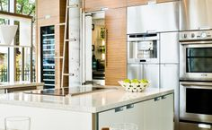 contemporary cabinets and clean lines in this modern kitchen Contemporary Cabinets, Contemporary Kitchen Design, Luxury Kitchens, Custom Cabinets, Beautiful Kitchens, Clean Lines, Modern, Home Decor, Custom Closets