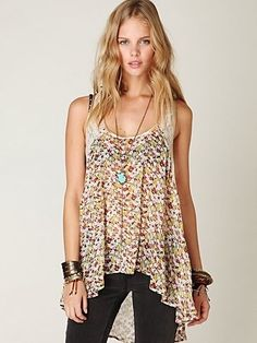 Free People Ditsy Lace Hi-Low Tank at Free People Clothing Boutique - StyleSays