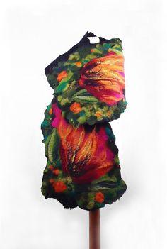 Felted Scarf Flower Wrap Nuno felt Scarves Felt flower Nunofelt Silk  Eco shawl Boho Fiber Art. $119.00, via Etsy.