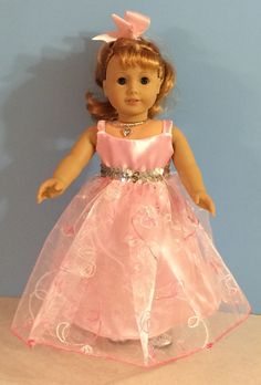 Pink Formal Gown with Embroidery and Silver Sequins Handmade for 18 Inch Dolls Such as the American Girk Dolls American Doll Clothes, Girl Doll Clothes, Doll Clothes Patterns, Doll Patterns, Cute Dresses, Flower Girl Dresses, Princess Dresses, Doll Dresses, Party Dresses