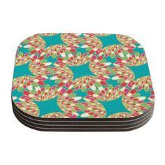 24 x 36 Kess InHouse Anneline Sophia Dotty Papercut Orange Circles Teal Luxe Rectangle Panel