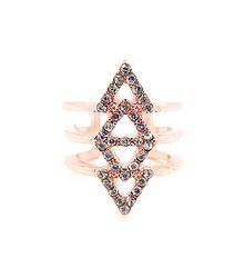 Fish Bone - Trendy statement ring featuring rhinestone arrow detail  S/M/L fit